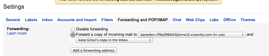 Gmail enable forwarding